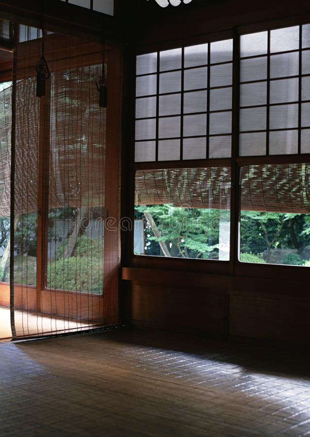 Japanese house interior wooden window with white texture details background. Japanese house interior wooden window with white texture details royalty free stock photos