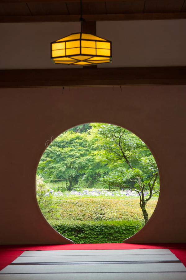 Free Japanese House With Round Window Royalty Free Stock Photography - 52507907
