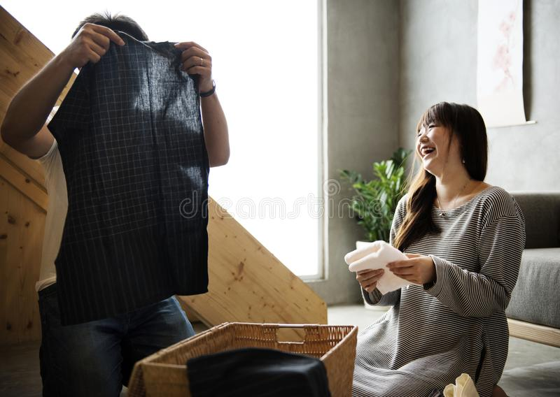 Japanese husband and wife in living room stock photo