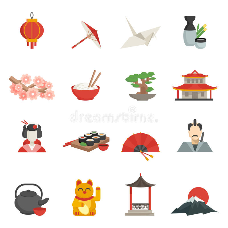 Japanese Icons Flat Set. With lantern umbrella crane isolated vector illustration stock illustration