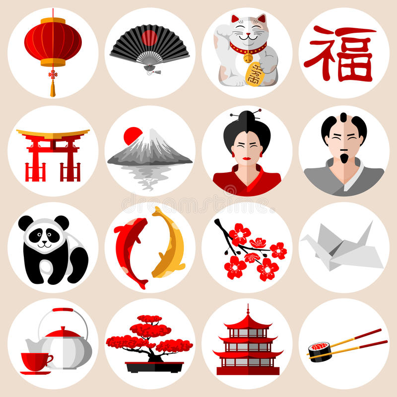 Japanese icons set. In flat style with different traditional symbols and attributes. Vector illustration. on white background vector illustration
