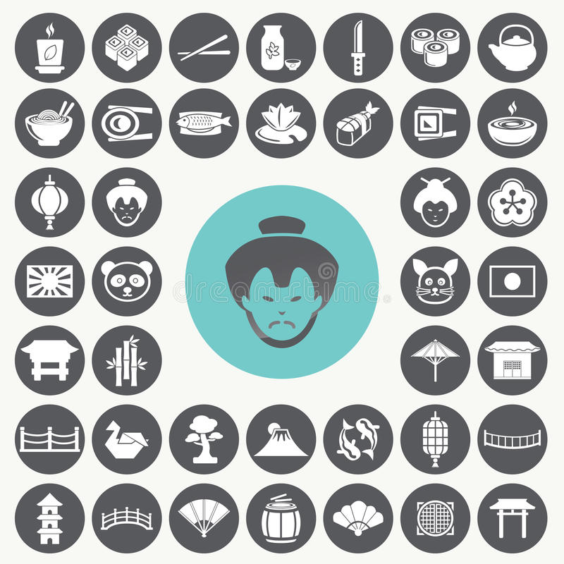 Japanese icons set. Illustration eps10 royalty free illustration