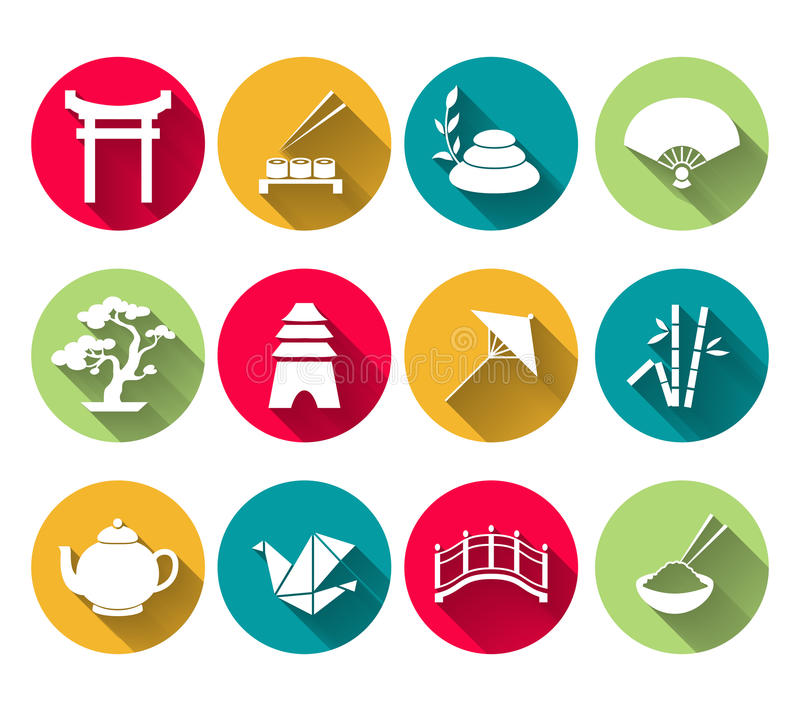 Japanese Icons Set. Japanese symbols icons set of sushi bamboo rice tea pot vector illustration vector illustration