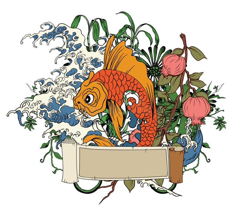 Download Japanese Illustration With Koi Fish Stock Illustration - Image: 25388718