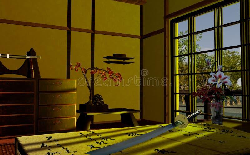 Download Japanese interior stock illustration. Illustration of katana - 22274278