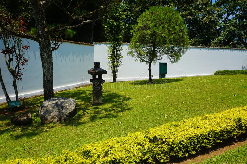 Japanese japan garden with white wall style and green grass and tree park - photo royalty free stock photography