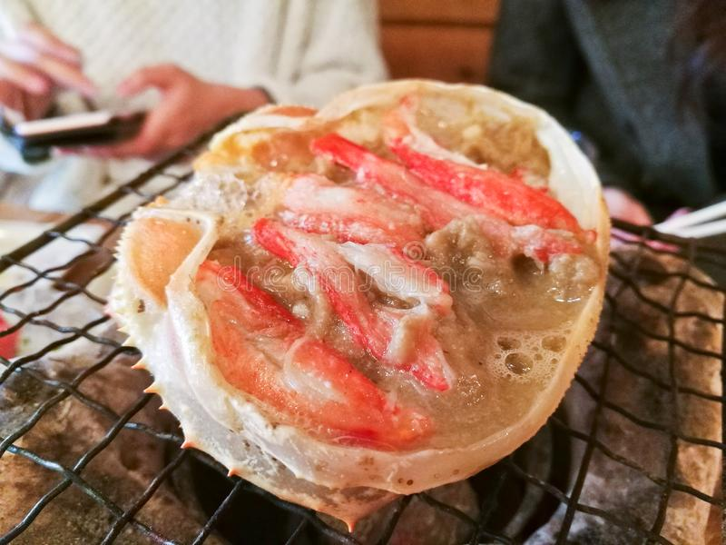 Japanese Kani Miso crab meat stir soup grilled party stock photography