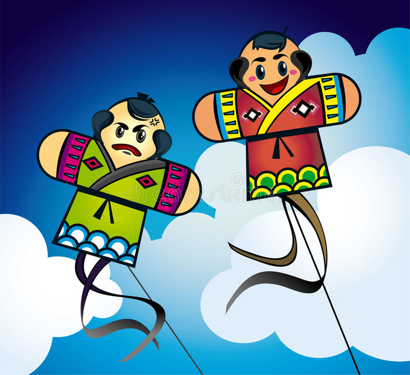 Japanese Kites In The Sky Royalty Free Stock Photography