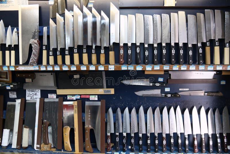 Japanese knife shop. TOKYO, JAPAN - DECEMBER 4, 2016: Japanese knife shop Kappabashi area of Asakusa in Tokyo, Japan. Kappabashi Street is known for its multiple stock photography
