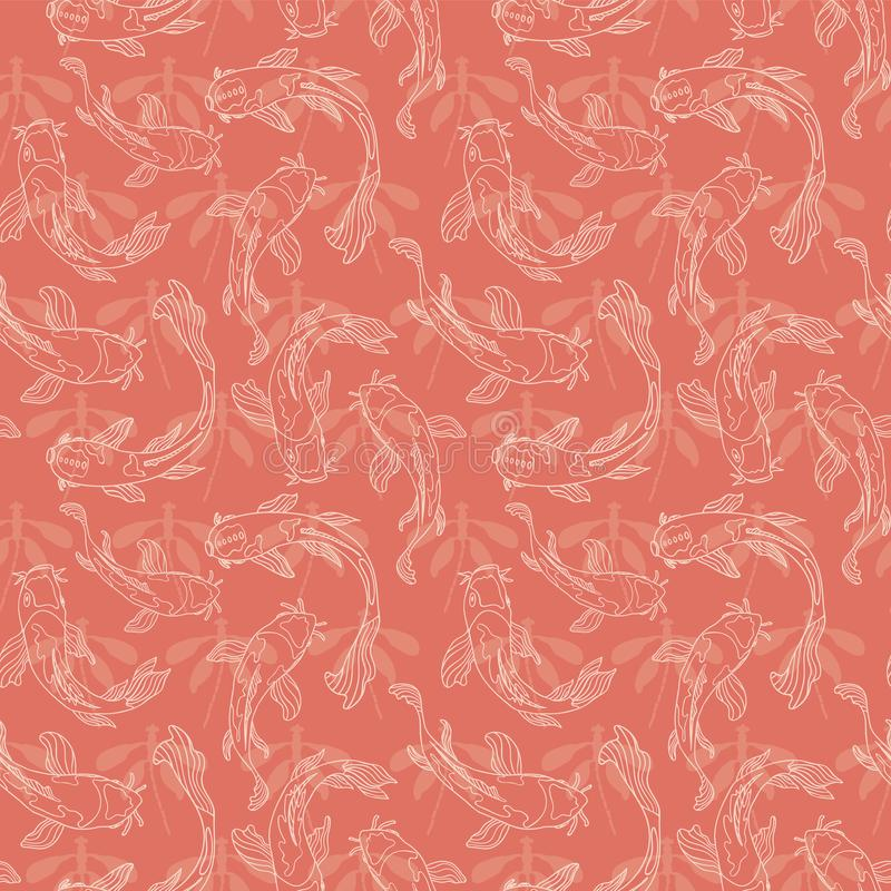 Japanese Koi fish lineart layered on dragonfly silhouettes in a monochrome orange pink color. Seamless vector pattern background vector illustration