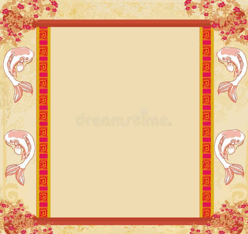Japanese koi vintage frame stock illustration