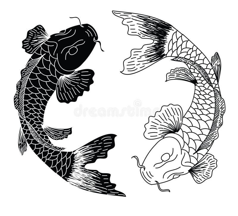 Tattoo Art Black And White: Japanese Koifish Tattoo Design Vector Stock Vector