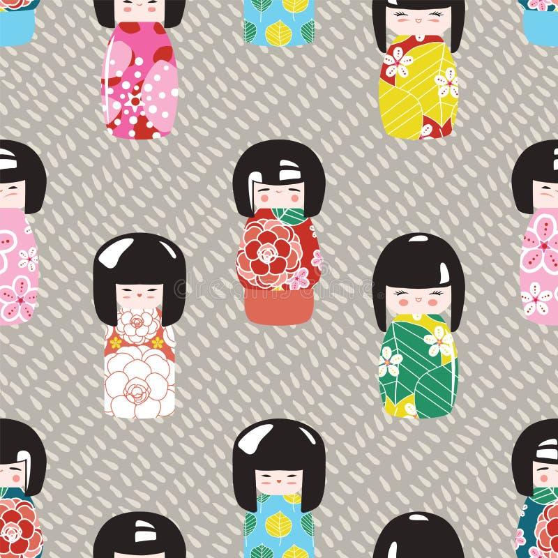 Japanese kokeshi dolls pattern 色彩鲜艳的图形风格中的无缝背景 矢量插图 库存例证