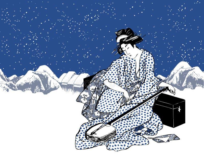 Japanese lady or geisha in kimono playing the shamisen vector illustration
