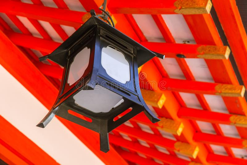 Japanese Lamp Decoration in Red Shrine royalty free stock photos