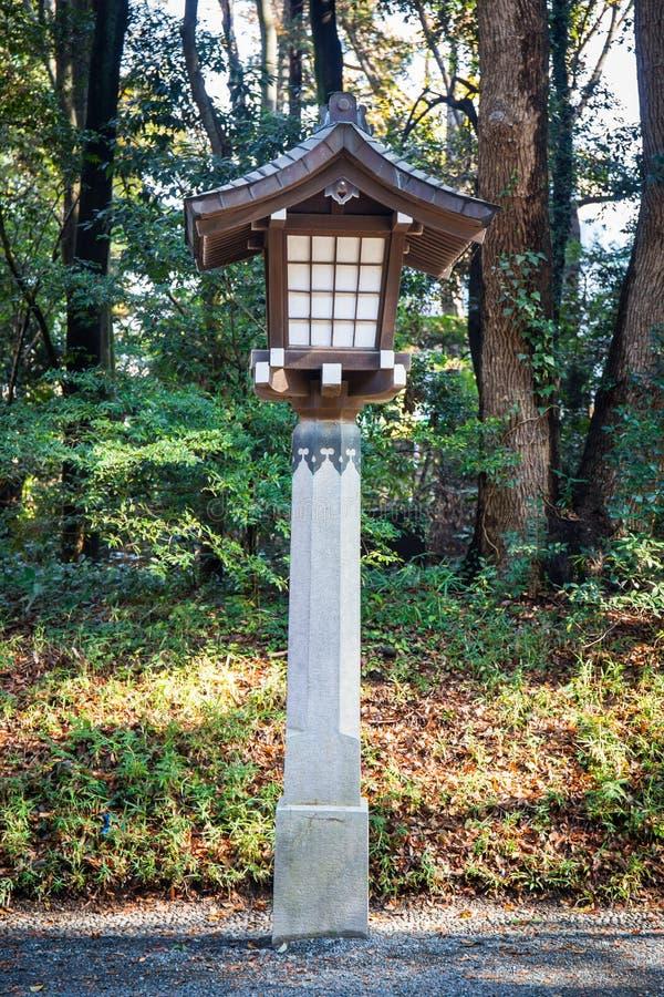 Japanese lamp at Meiji Jingu Shrine, Harajuku, tokyo, japan stock image