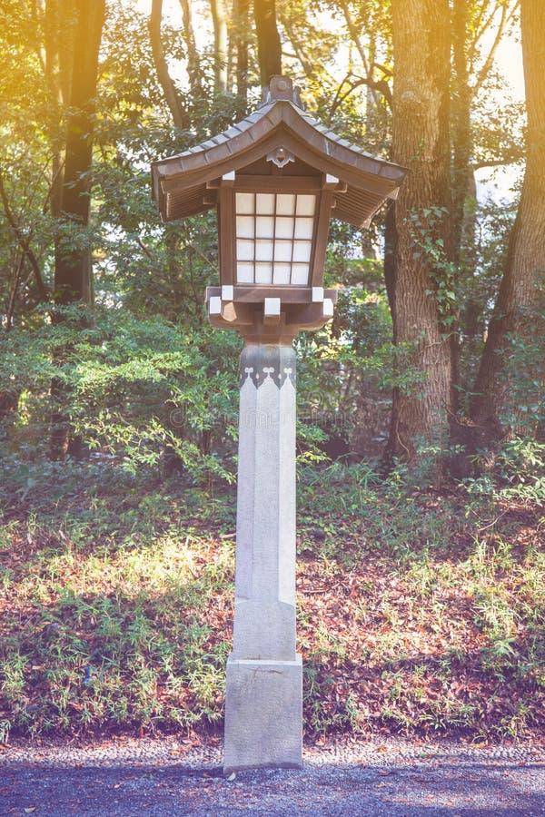 Japanese lamp at Meiji Jingu Shrine, Harajuku, tokyo, japan stock photos