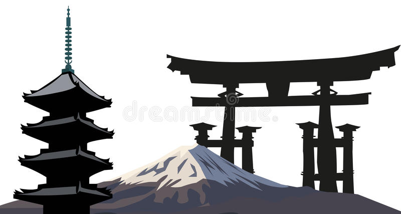 Japanese Landmarks stock illustration
