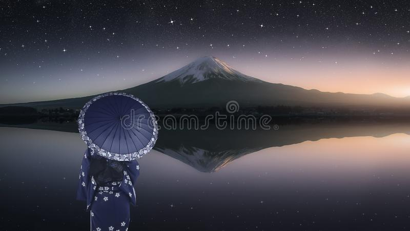 Japanese landscape at evening stock photos