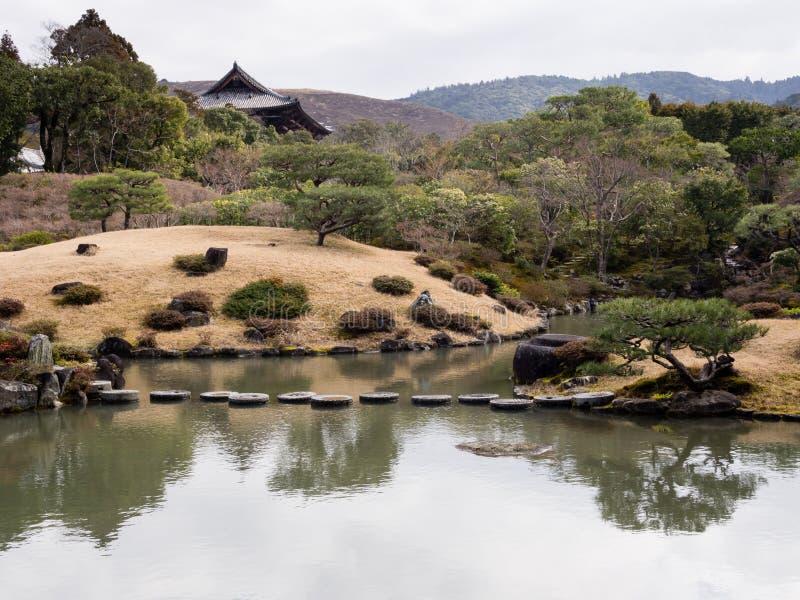 Japanese landscape garden with pond - Isuien Garden, Nara royalty free stock image
