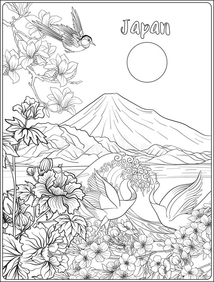 Japanese Landscape with Mount Fuji, sea, and Japanese woman kimo. No and tradition flowers and a bird. Outline drawing coloring page. Coloring book for adult vector illustration