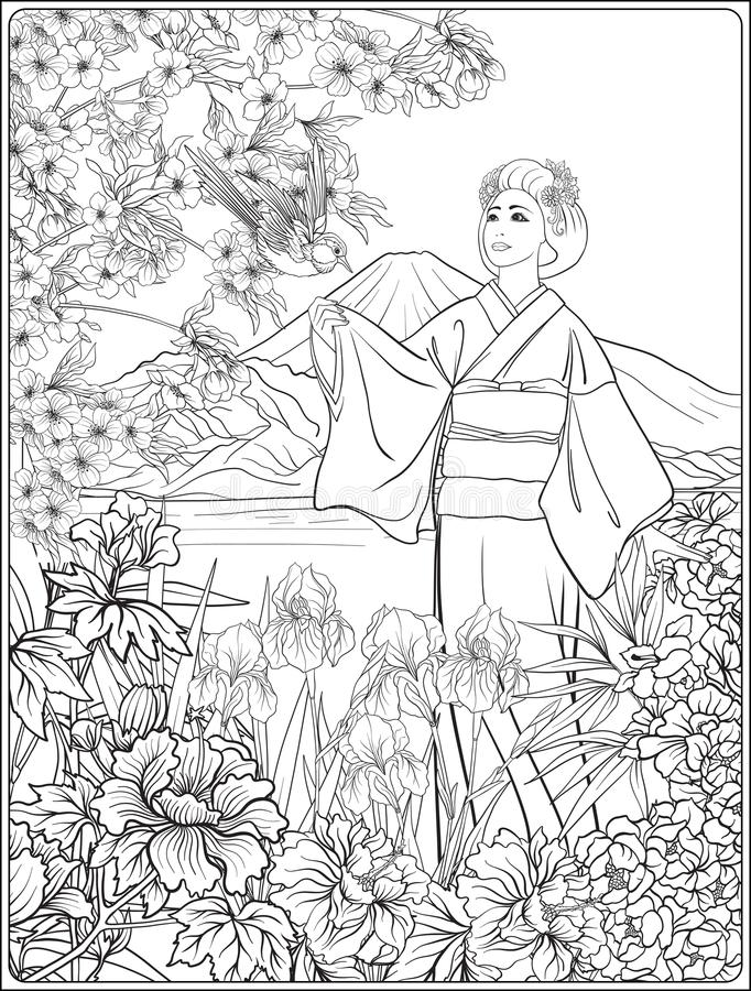 Japanese Landscape with Mount Fuji, sea, and Japanese woman kimo. No and tradition flowers and a bird. Outline drawing coloring page. Coloring book for adult royalty free illustration