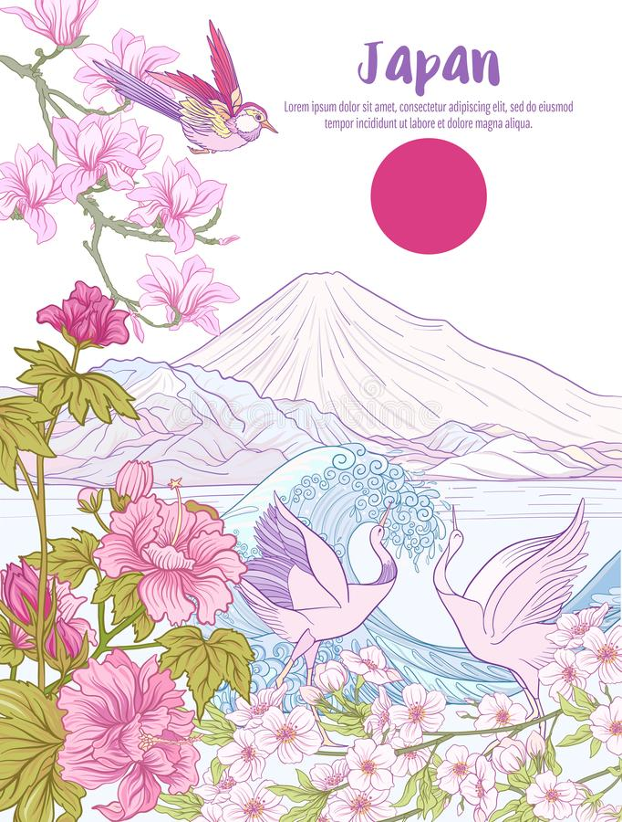Japanese Landscape with Mount Fuji, sea, and tradition flowers a. Nd a bird. Poster are postcard. Vector stock illustration vector illustration
