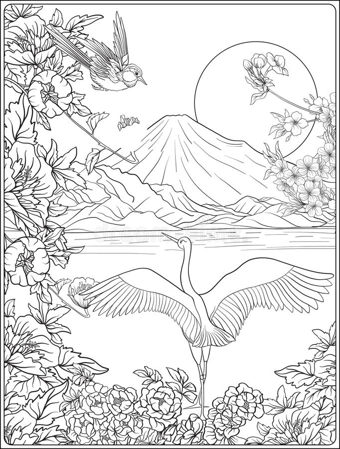 Japanese Landscape with Mount Fuji and tradition flowers and a b. Ird. Outline drawing coloring page. Coloring book for adult. Vector stock illustration royalty free illustration
