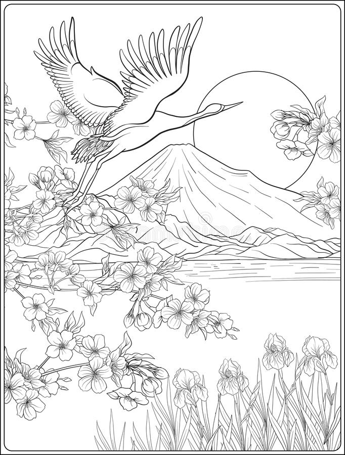 Japanese Landscape with Mount Fuji and tradition flowers and a b. Ird. Outline drawing coloring page. Coloring book for adult. Vector stock illustration vector illustration