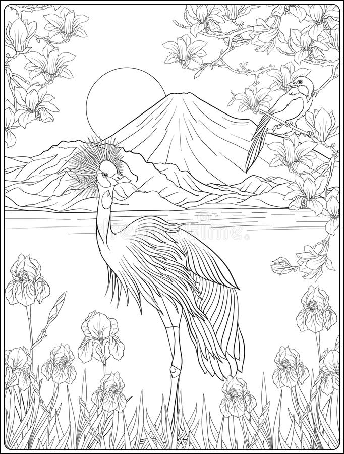 Japanese Landscape with Mount Fuji and tradition flowers and a b. Ird. Outline drawing coloring page. Coloring book for adult. Vector stock illustration stock illustration