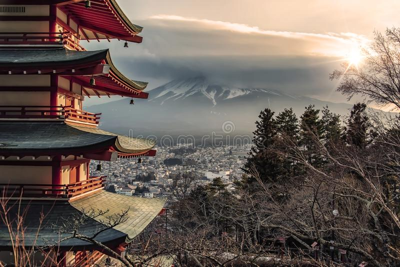 Japanese landscape at sunset stock photo