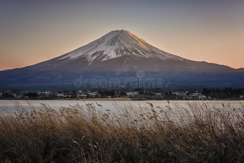 Japanese landscape at sunset royalty free stock photography