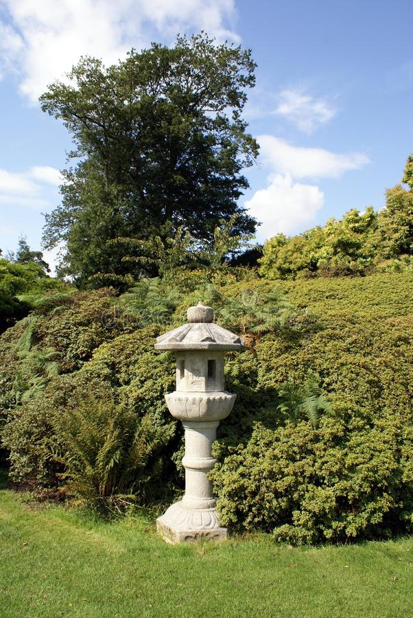 Japanese lantern in a garden. Garden decoration of a Japanese lantern stock photography