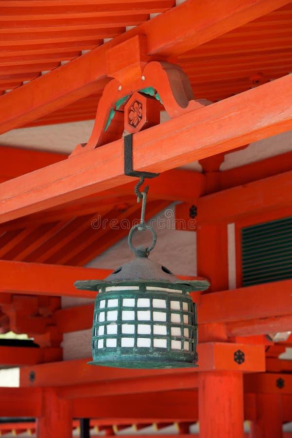 Japanese lantern in a Shinto shrine stock photography