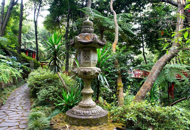 Japanese lantern in the tropical garden. In Madeira royalty free stock photos