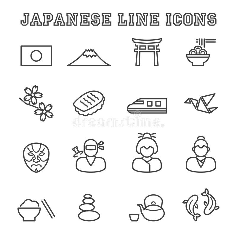 Japanese line icons. Mono vector symbols vector illustration