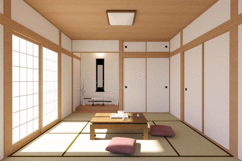 Download Japanese Living Room Interior In Traditional And Minimal Design  Stock Illustration   Illustration Of House