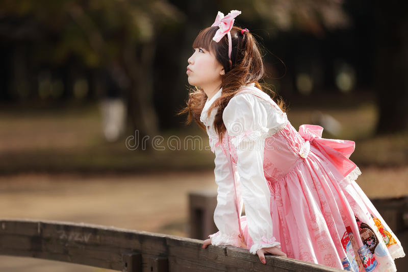 Japanese lolita cosplay. Japanese girl in lolita cosplay style royalty free stock images