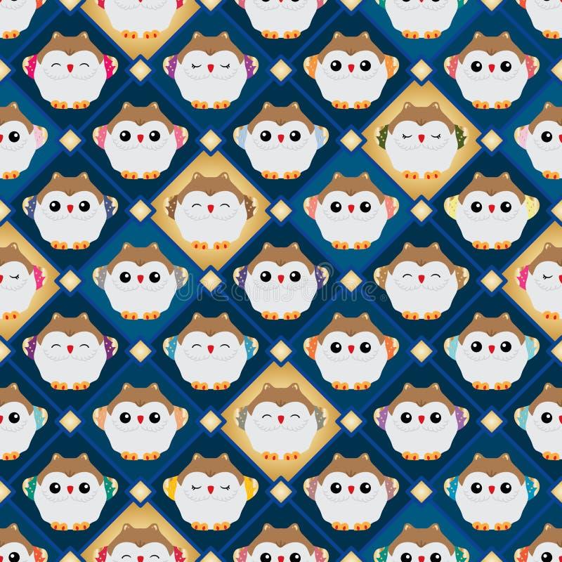 Japanese lucky owl diamond inside seamless pattern stock illustration
