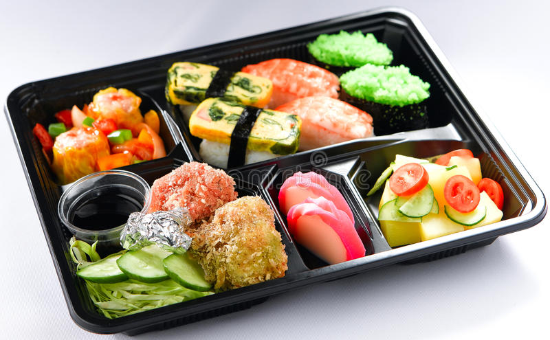 Japanese lunchbox food isolated