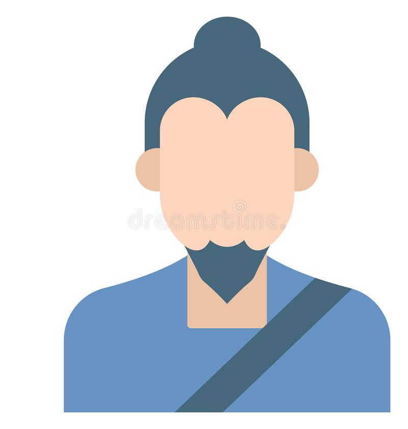 Japanese Man Color Isolated Vector Icons that can easily modify or edit stock illustration