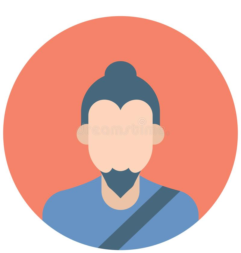 Japanese Man Color Isolated Vector Icons that can easily modify or edit vector illustration