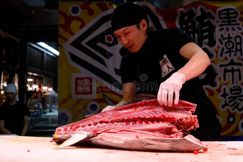 Japanese man cutting giant tuna royalty free stock photo