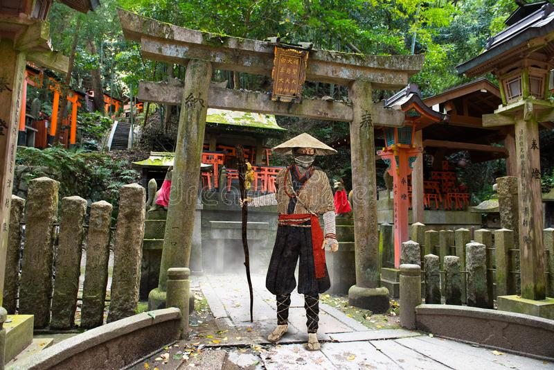 Japanese man, Temple, Shrine, Culture. Artistic rendition of a traditional Japanese wise man who is visiting a Buddhist temple or Shinto shrine. Culture an stock photos