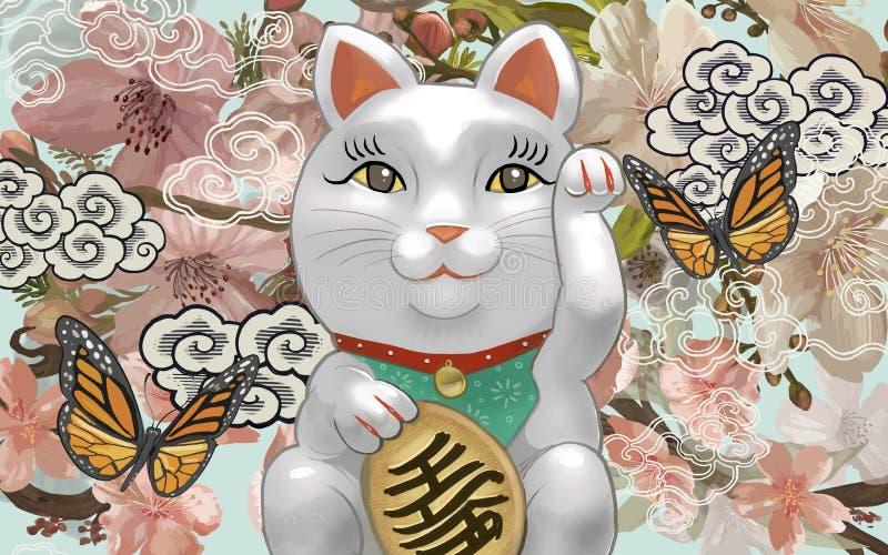 Japanese Maneki Neko figurine illustration stock illustration
