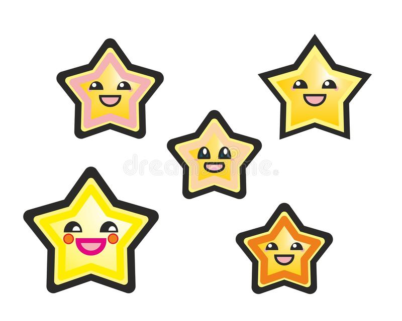 Japanese manga stars hand drawn illustration on white background. Cute cartoon happy yellow stars or starfish with smile and black eyes royalty free illustration