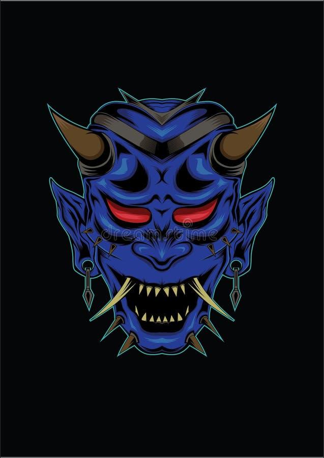 Japanese mask of kabuki. blue devil face illustration.head of monster vector illustration