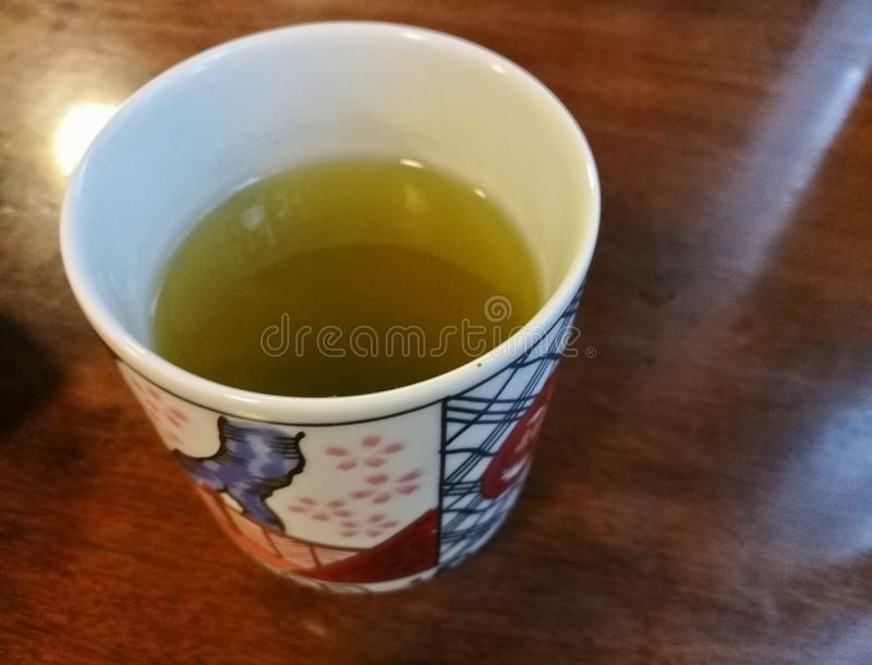 Japanese matcha strong green tea on wooden table royalty free stock images