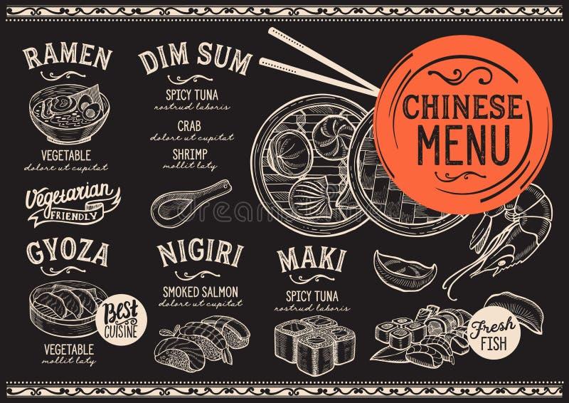 Japanese menu restaurant, sushi food template. Japanese sushi restaurant menu. Vector chinese dim sum food flyer. Design template with vintage hand-drawn royalty free illustration