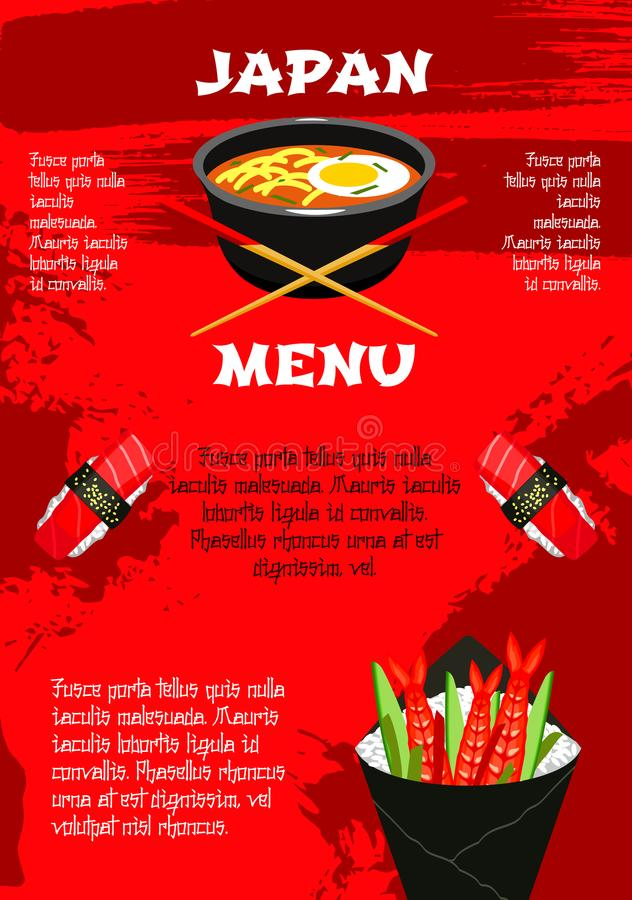 Vector poster for Japanese cuisine menu. Japanese menu template for asian restaurant or sushi bar. Vector design of noodles or seafood miso soup in bowl with royalty free illustration